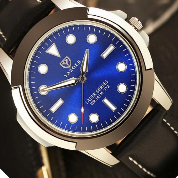 Relógio Social Masculino Yazole Original Barato Couro Quartz