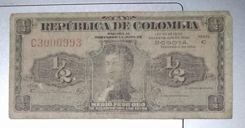 Imagen 1 de 2 de Billete Colombiano Antiguo De Medio Peso Lleritas