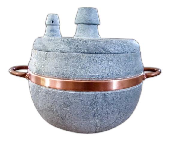 Panela De Pressão 1,5 L Pedra Sabão Cobre Comida Saudável