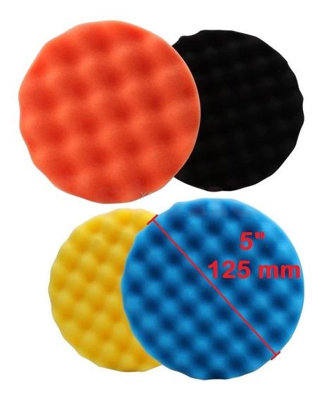 4 Boinas Polimento 5 125mm Fixação Velcro Sem Suporte Refil