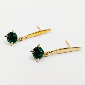 Brinco Feminino Pedra Verde Delicado Banhado Ouro 18k