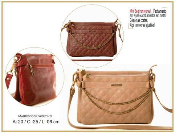 Bolsa Mini Bag Feminina Couro Legítimo Poucelle 6532