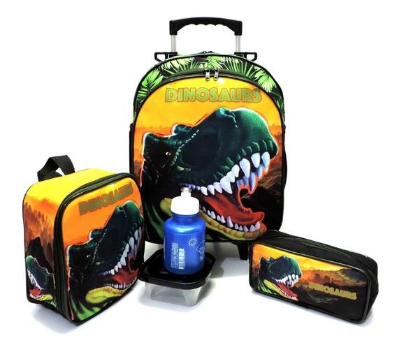 Kit Mochila Infantil Dinossauro Rodinhas Tam M Verde F5