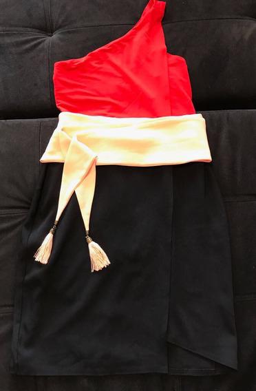 Vestido Morena Rosa Bicolor Festa Mid Com Faixa