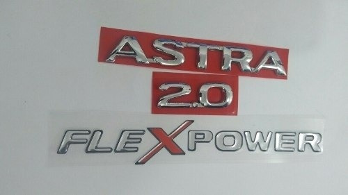 Emblema Astra 2.0 Cromado Adesivo Flexpower 3 Pecas