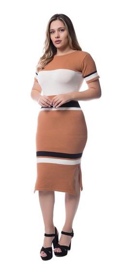 Vestido Feminino Tricot Modal Midi Listrado Promoção 7510