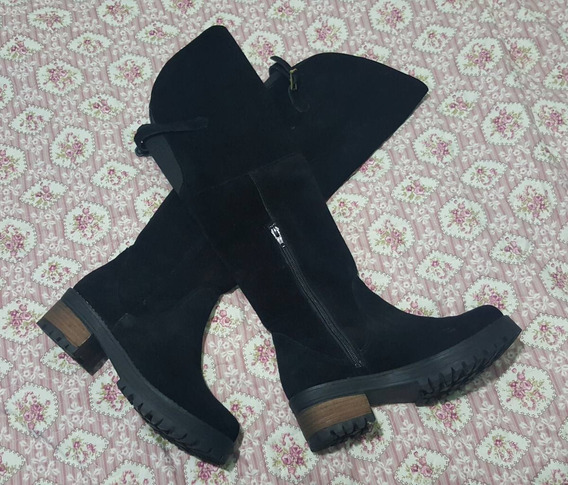 Botas Altas De Gamuza Color Negro
