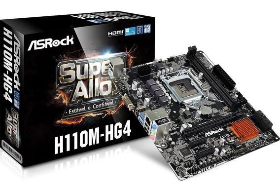 Asrock H110m-hg4 Hdmi Ddr4 2133 Lga1151 Nf # Em Até 12 X