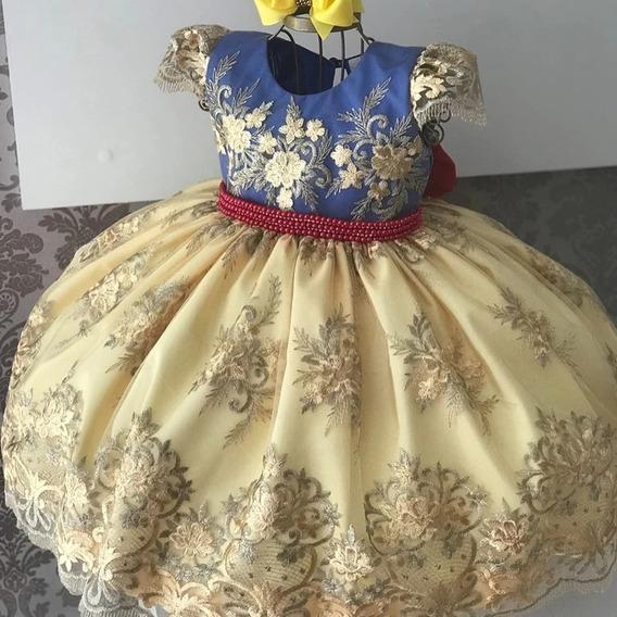 Vestido Festa Luxo Branca De Neve Rendado Amarelo E Azul