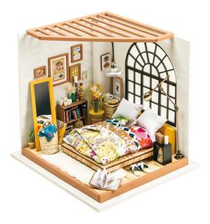 Casa Armable Miniatura De Madera Con Luz Led Recamara 21 Cm
