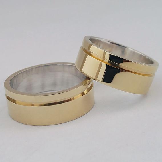 Aliança De Moeda Antiga 8mm Casamento Noivado Cor Ouro 18k
