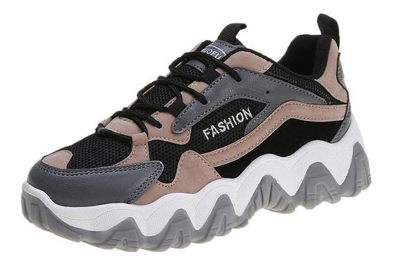 Sepatu Zapatillas Casual Nyaman Warna Abu-abu Untuk Wanita