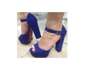 9380054733 Sapato Azul Royal Salto Grosso - Sapatos no Mercado Livre Brasil