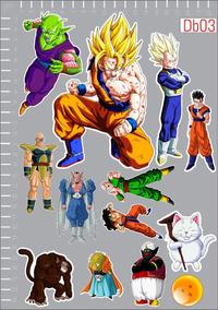 Adesivo Dragon Ball Gt Goku Vegeta Gohan Kit 3 Cartelas