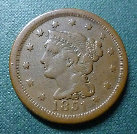 Usa Moneda 1 Centavo Vf+ 1851 (braided Hair) Km 67