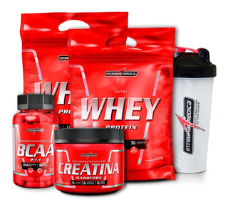 Kit 2x Whey 900g + Creatina + Bcaa + Shaker - Integralmédica