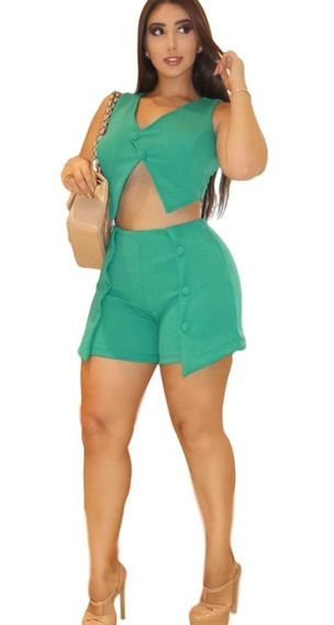 Kit Conjunto Feminino Bermuda Soltinha + Blusa Cropped