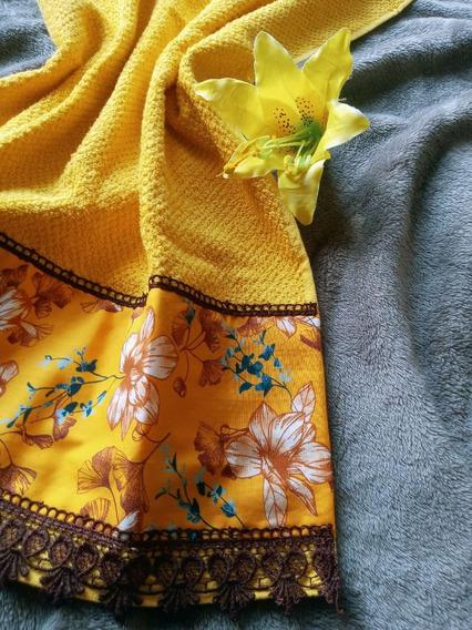 Toalha Rosto Amarelo Mango Com Tricoline Estampado E Quipir