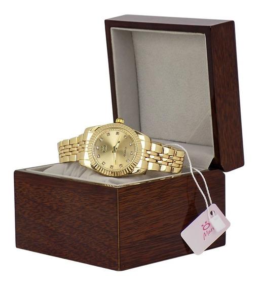 Relógio Feminino Quartz Analógico Edição Limitada Caixa Madeira
