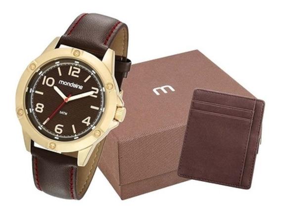 Presente Para Homens Relógio Mondaine Dourado Couro Original
