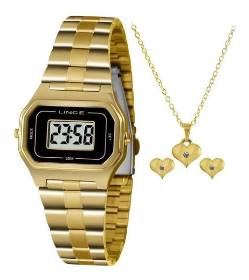 Relógio Lince Dourado Digital Quadrado Brinde Colar Brincos