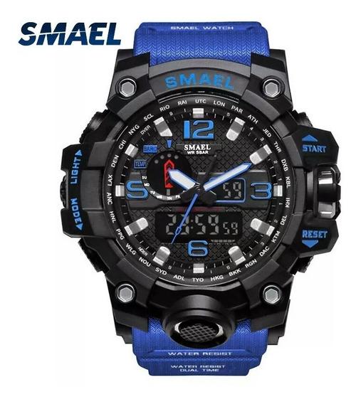 Relógio Smael 1545 Azul Novo À Prova D