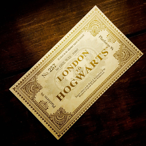 Ticket Boleto Harry Potter Hogwarts Tren Plataforma