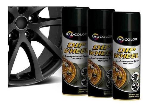 Tinta Spray Envelopamento Liquido Dip Wheel 500ml 3 Un Preto