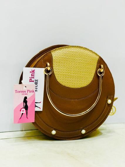 Bolsa Feminina Alça Dourada Caramelo