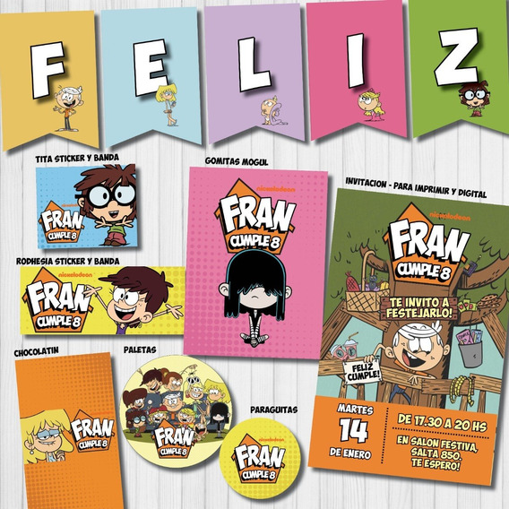 Kit Imprimible Personalizado Candy Bar The Loud House