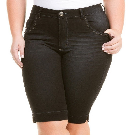 Bermuda Feminina Jeans Plus Size Com Lycra Elastano Bdj144