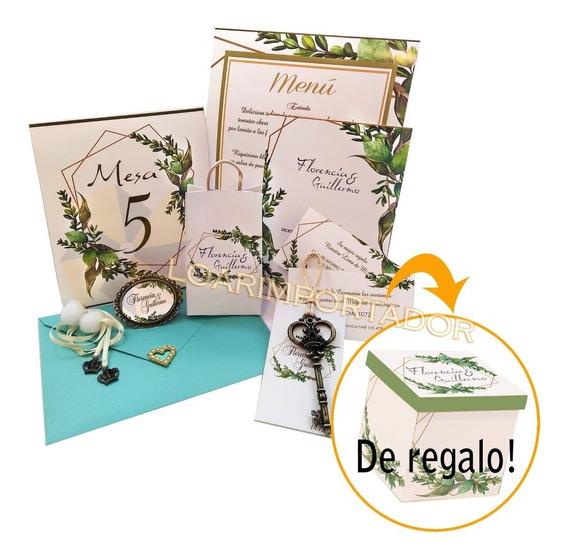 Invitaciones Tarjetas Bodas Casamientos Verde Olivo Kit 50