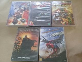 Lote 5 Dvds Infantil Batman Homem Aranha Mortal Kombat