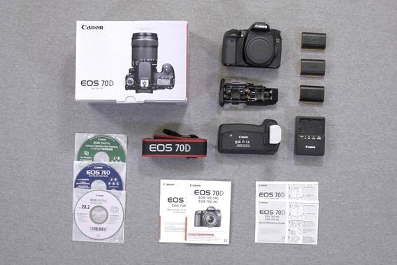Canon Eos 70d + 3 Baterias Grip Caixa Manuais Cds 36k Clicks
