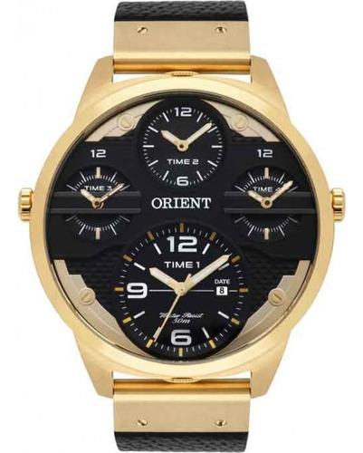 Relogio Orient Masculino Dourado Mgsct001 P2px Preto Couro