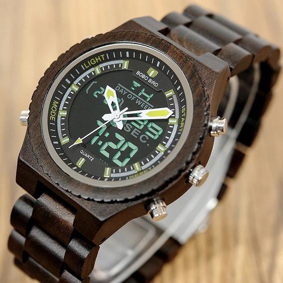 Relógio De Pulso Masculino Em Madeira De Bambu Horário Duplo