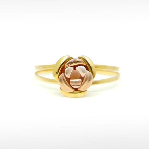 Anel Simbolo De Rosa Em Ouro 18k 750 Amarelo