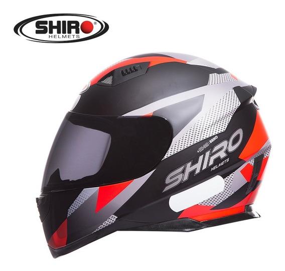 Capacete Fechado Moto Shiro-881 Brno Preto Fosco / Vermelho