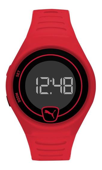 Reloj Unisex Puma Faster P5029 Color Rojo De Poliuretano