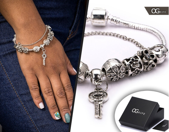 Pulseira Bracelete Feminino Aço Inox J-157 Estilo Pandora