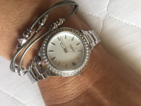 Kit Relógio Fossil Feminino Es4336set Prateado E Pulseira