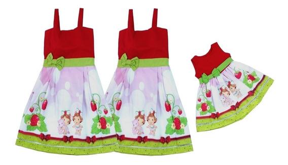 Kit 2 Vestidos Adulto Moranguinho Baby + 1 Infantil