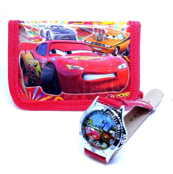 Relógio + Carteira 3d Mcqueen Cars Analógico Mega Oferta