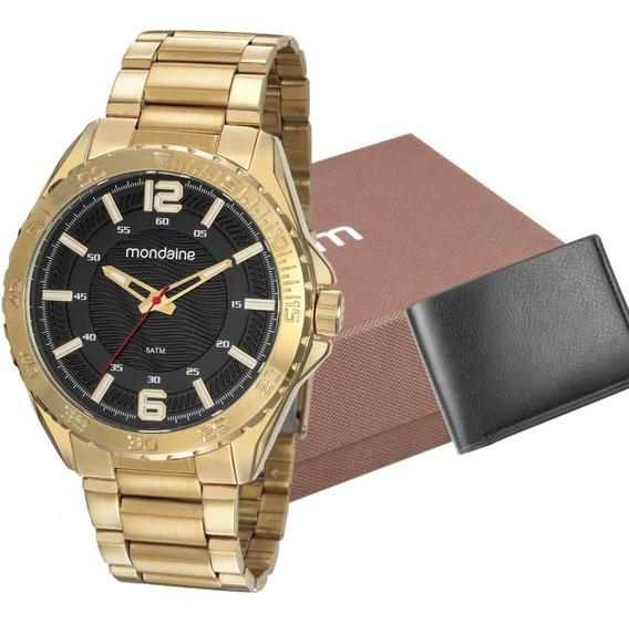 Relógio Mondaine Masculino Dourado Analógico + Carteira