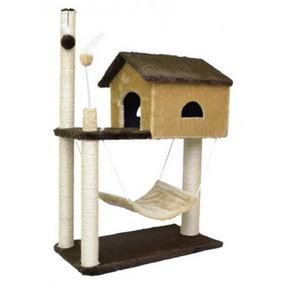 Arranhador Para Gatos House Com Rede Pelúcia E Sisal