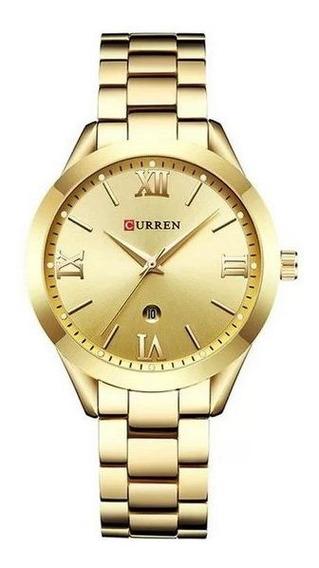 Relógio Feminino Curren Analógico C9007l - Dourado