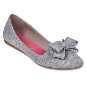 Calzado Dama Mujer Zapato Flat Clasben Textil Gris Comodo