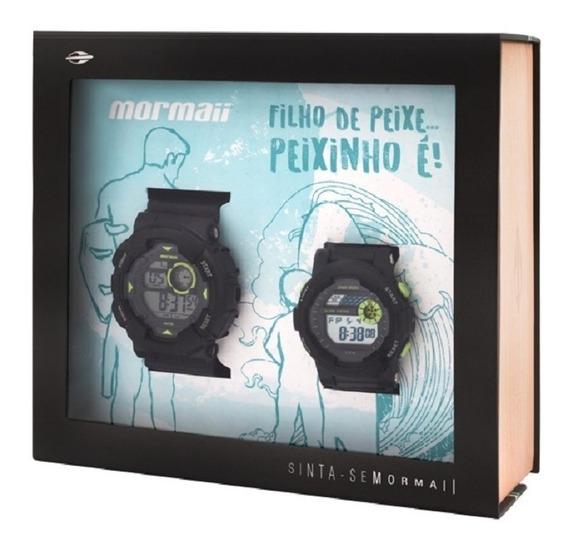 2 Relógios Mormaii Masculino Mo3415/8c Mo9081/8c Pai E Filho