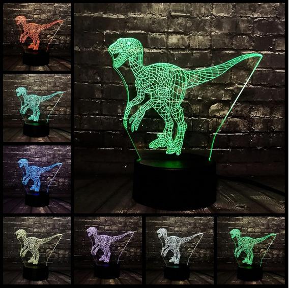 Lampara Led 3d Tipo Holograma Jurassic Velociraptor 7 Colors