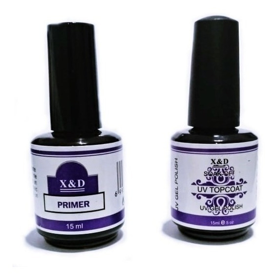 Kit Top Coat + Primer Led Uv 15ml X & D Unhas Gel X&d